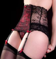 Boned Lace Waspie Suspender Belt in White/Pink or Black/Red